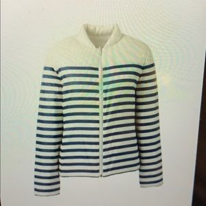 Blue & White striped reversible down jacket